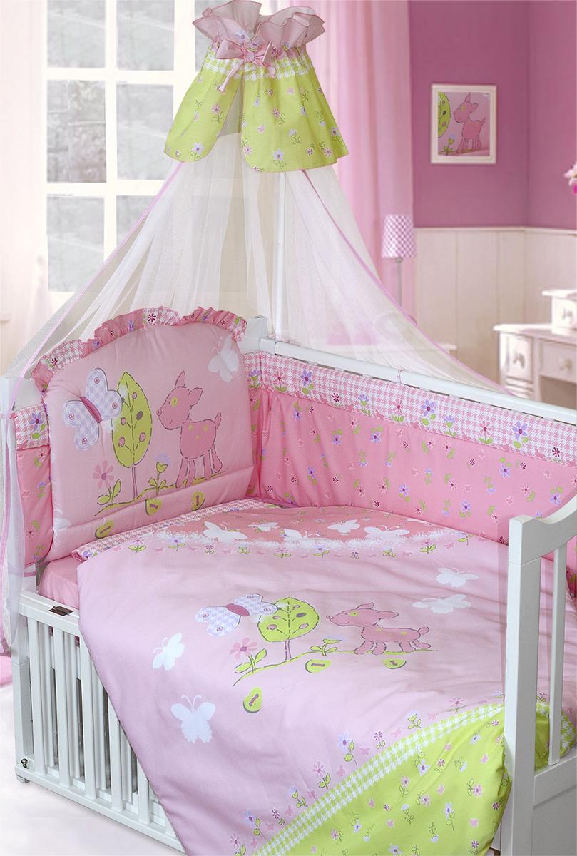 Золотой Гусь Комплект в кроватку Little Friend 7 предметов цвет розовый 60 x 120 см1266Комплект в кроватку с печатным рисунком. В комплект входит: Балдахин -сетка, одеяло, подушка, простыня на резинке, пододеяльник, наволочка, бампер