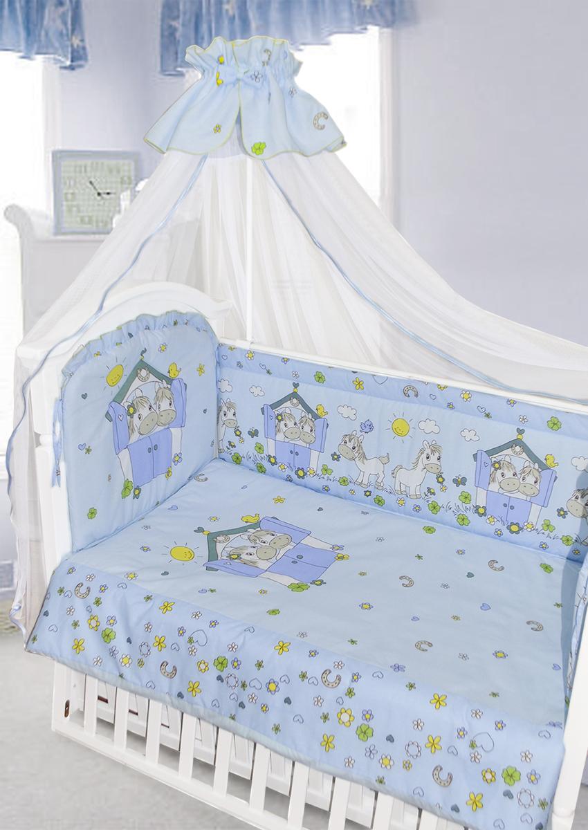 Золотой Гусь Комплект в кроватку Лошадки 7 предметов цвет голубой 60 x 120 см1202Комплект в кроватку с забавным печатным рисунком. В комплект входит: Балдахин -сетка, одеяло, подушка, простыня на резинке, пододеяльник, наволочка, бампер