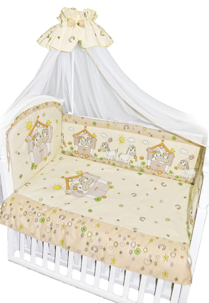 Золотой Гусь Комплект в кроватку Лошадки 7 предметов цвет бежевый 60 x 120 см1203Комплект в кроватку с забавным печатным рисунком. В комплект входит: Балдахин -сетка, одеяло, подушка, простыня на резинке, пододеяльник, наволочка, бампер