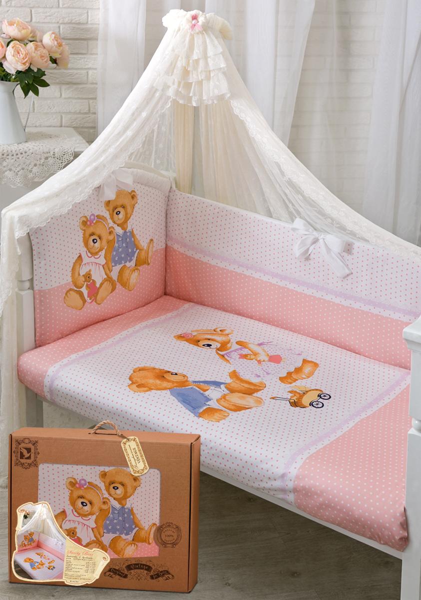 Золотой Гусь Комплект в кроватку Sweety Bear 7 предметов цвет розовый 60 x 120 см1756Коллекция «ВИНТАЖ». Уникальный дизайн комплекта сделает комнату малыша неповторимой. Рисунок на ткани стойкий к машинной стирке, глажению с лицевой стороны изделия и солнечным лучам. В комплект входит: Балдахин-вуаль, одеяло, подушка, простыня на резинке непромокаемая, пододеяльник на молнии, наволочка, бампер на молнии.