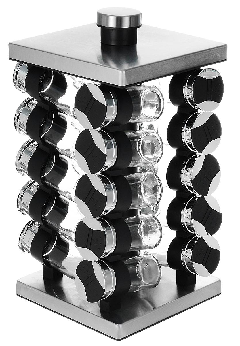 """Набор для специй """"Weifang Sunnycal Co., Ltd."""" включает 20 емкостей для специй, расположенных в  хаотичном порядке на оригинальной подставке, благодаря чему емкости не потеряются и всегда  будут у вас под рукой.  Емкости выполнены из высококачественного стекла и снабжены  пластиковыми крышками с удобными дозаторами для специй. Герметичное закрытие  обеспечивает самое лучшее хранение.  Модный, элегантный и яркий дизайн набора украсит интерьер вашей кухни. Наслаждайтесь  приготовлением пищи с вашим набором баночек для специй.  Размер баночки: 10 х 4,2 см.  Размер подставки: 36,5 х 18,8 x 8,5 см."""