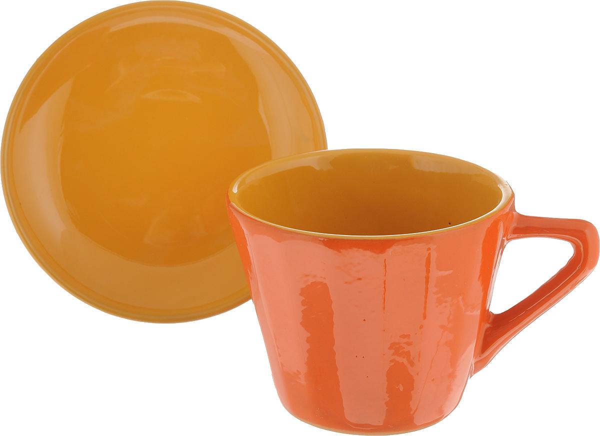 Чайная пара Борисовская керамика Ностальгия, цвет: оранжевый, желтый, 200 мл чашки