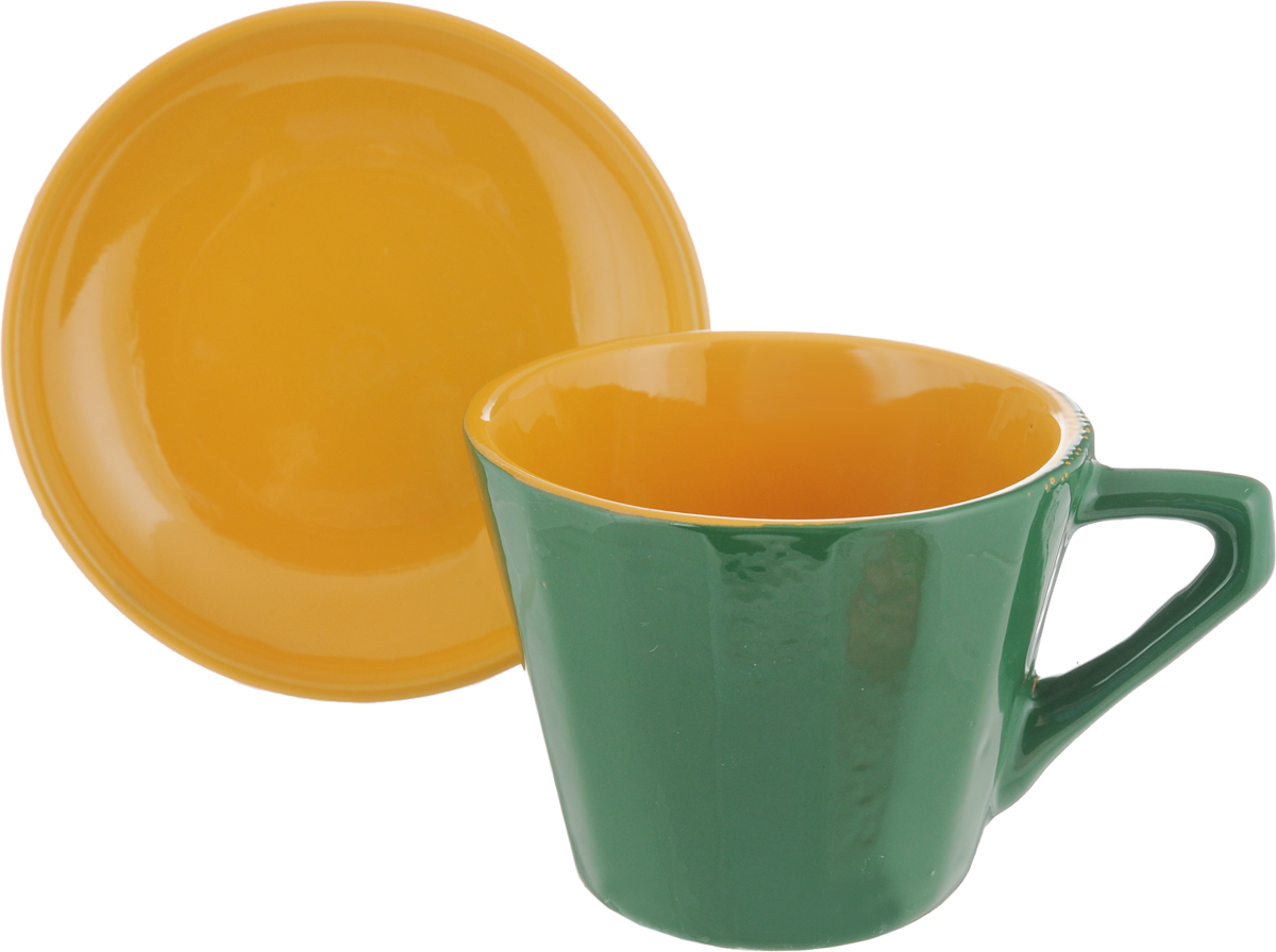Чайная пара Борисовская керамика Ностальгия, цвет: зеленый, желтый, 200 млРАД14458002_зеленый, желтыйЧайная пара Борисовская керамика Ностальгия состоит из чашки и блюдца,изготовленных из высококачественной керамики. Такой набор украсит вашкухонный стол,а также станет замечательным подарком к любому празднику.Можно использовать в микроволновой печи и духовке. Диаметр чашки (по верхнему краю): 8 см. Высота чашки: 6,5 см. Диаметр блюдца (по верхнему краю): 10 см. Высота блюдца: 2 см. Объем чашки: 200 мл