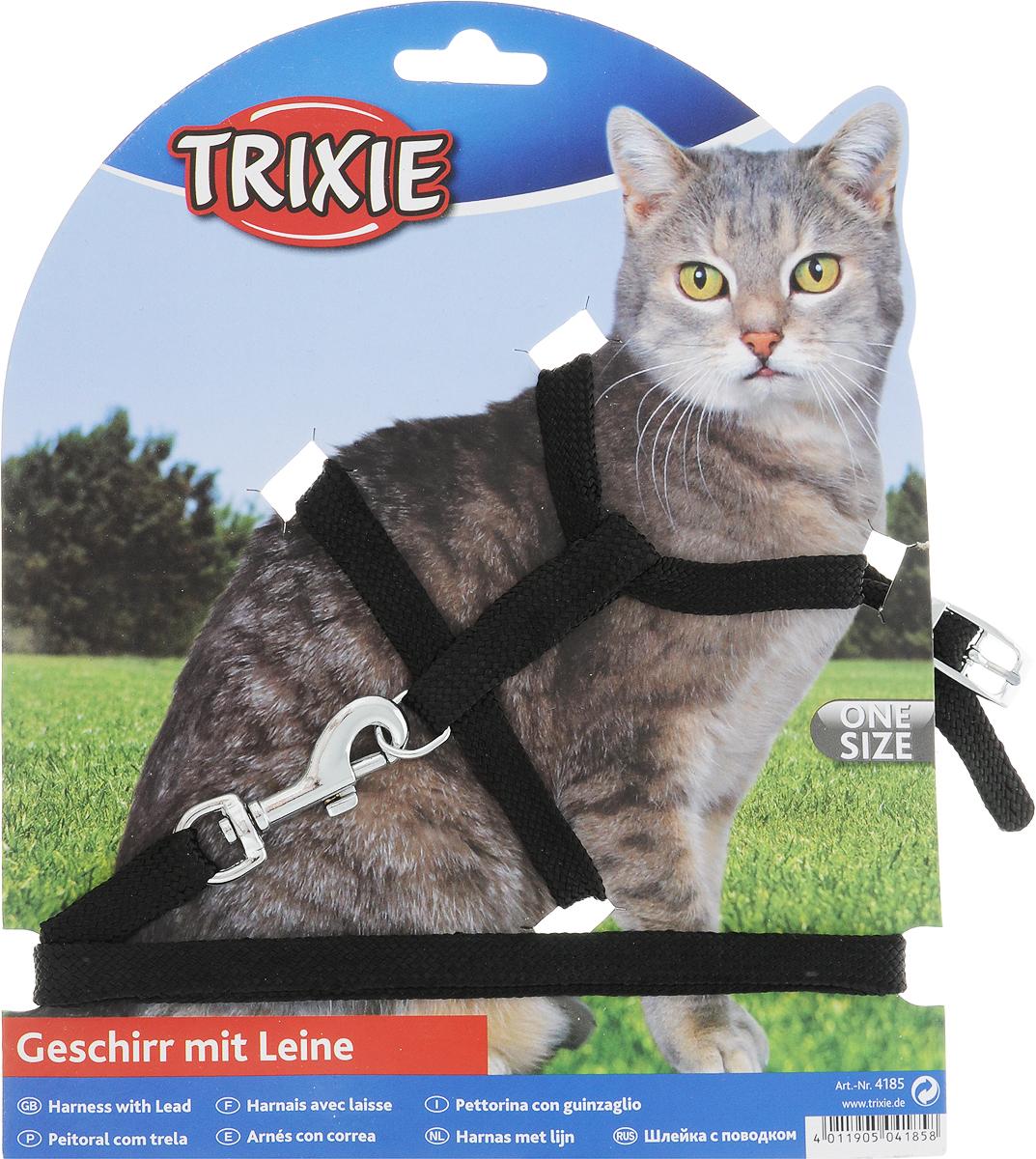 Шлейка для кошек Trixie, с поводком, ширина 1 см, обхват груди 22-42 см, цвет: черный trixie шлейка с поводком trixie buddy для собак xs s 28 45 см 10 мм 1 20 м серая