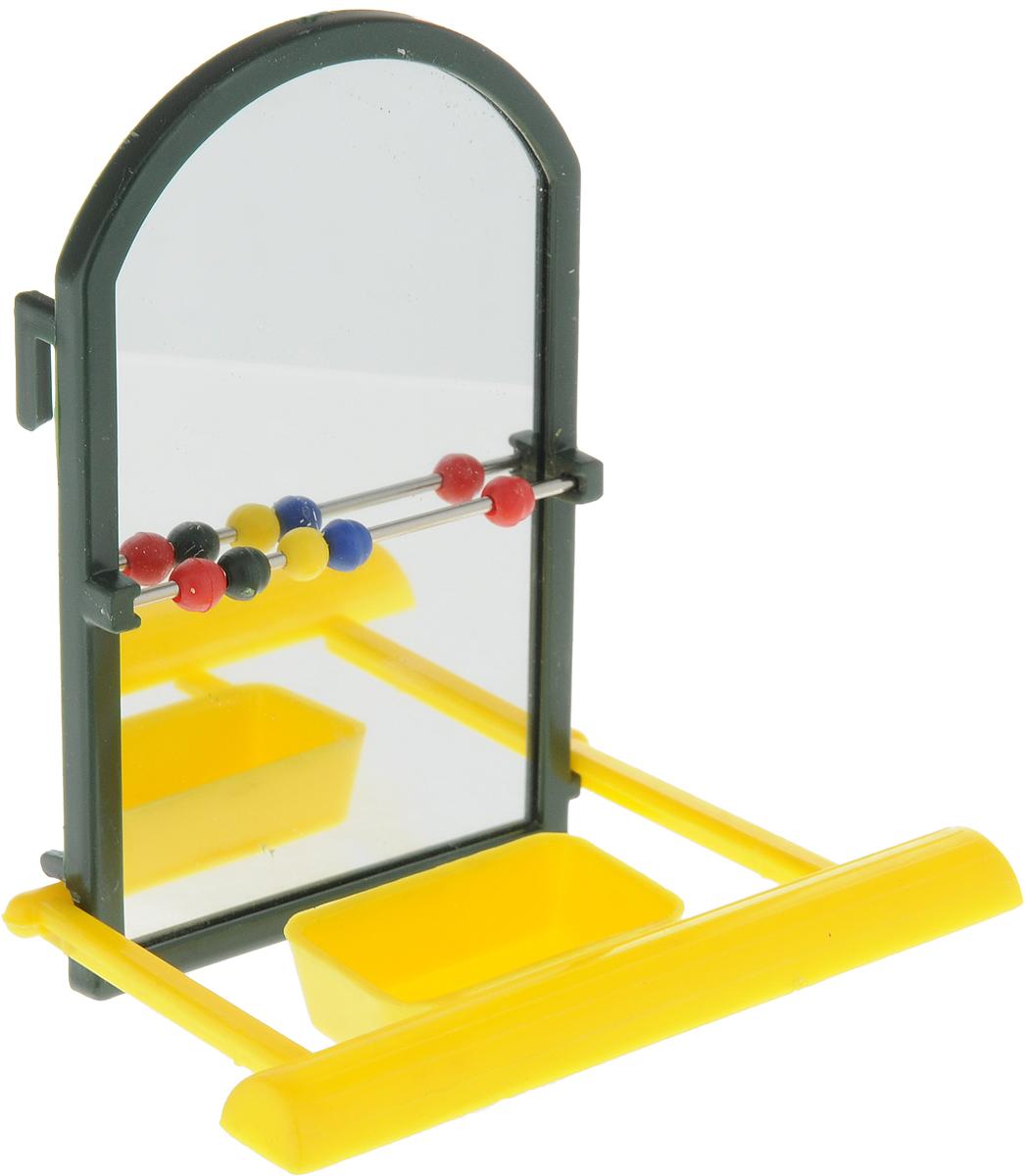 Игрушка для попугая Trixie Зеркало, с жердочкой, темно-зеленый, 9 см, цвет: желтый