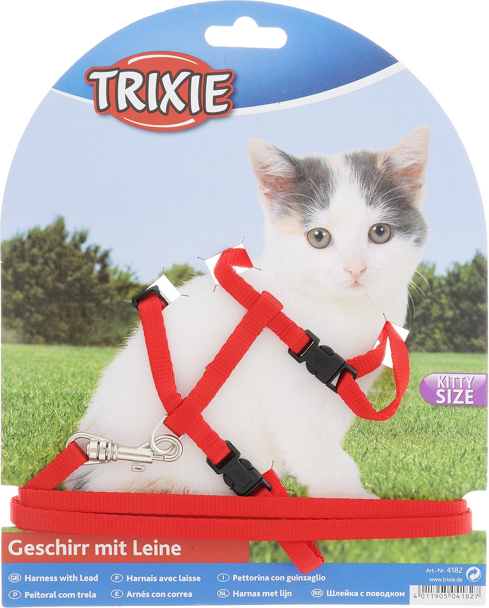Шлейка для котят Trixie, с поводком, ширина 0,8 см, обхват груди 18-30 см, обхват шеи 15-24 см, цвет: красный