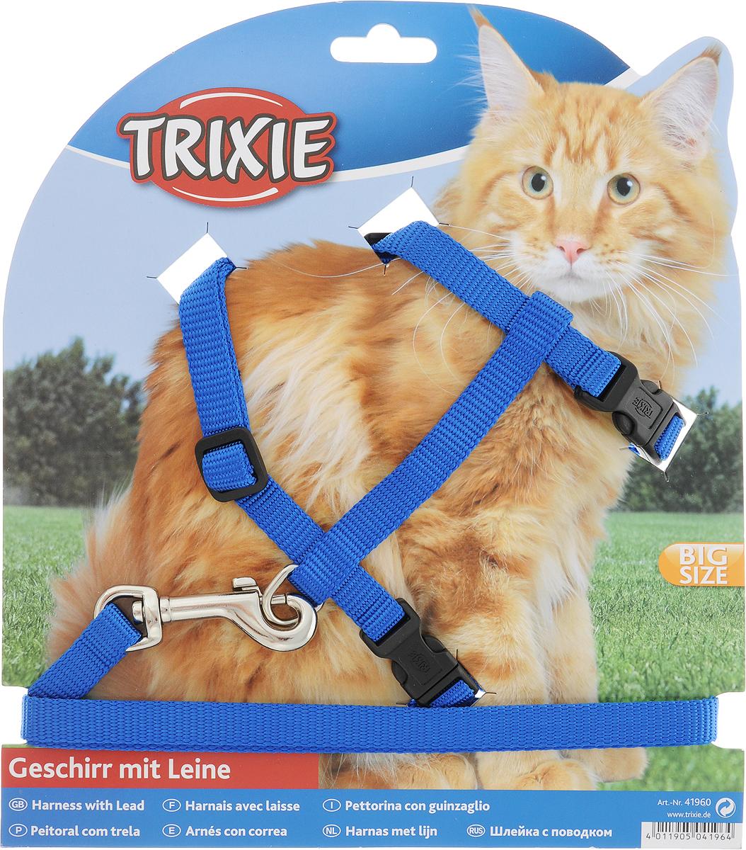 Шлейка с поводком Trixie, для крупных кошек, ширина 1,3 см, обхват груди 34-57 см, обхват шеи 19-30 см, цвет: синий trixie шлейка trixie для собак размер s m 35 60 см 15 мм синяя