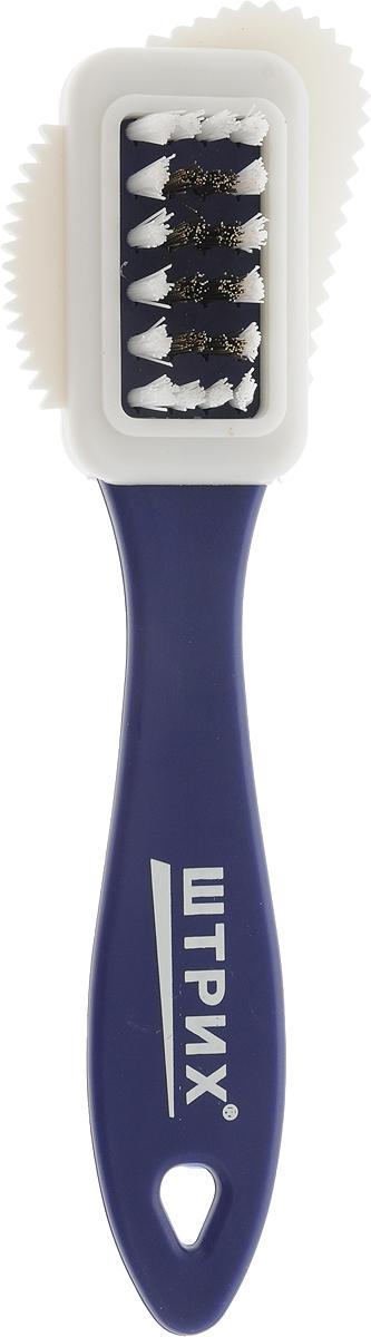 Щетка для замши, нубука и велюра Штрих Основной уход, тройная, цвет: фиолетовый, белый91245338/т0001382_фиолетовыйЩетка для замши, нубука и велюра Штрих Основной уход, тройная, цвет: фиолетовый, белый