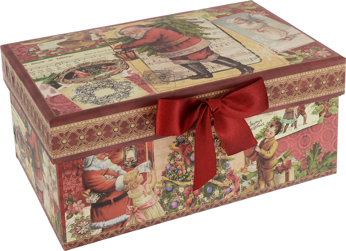 Коробка подарочная новогодняя Mister Christmas Дед Мороз и дети, прямоугольная, 17 х 12 х 8 см mister christmas collection шкатулка подарок st 32