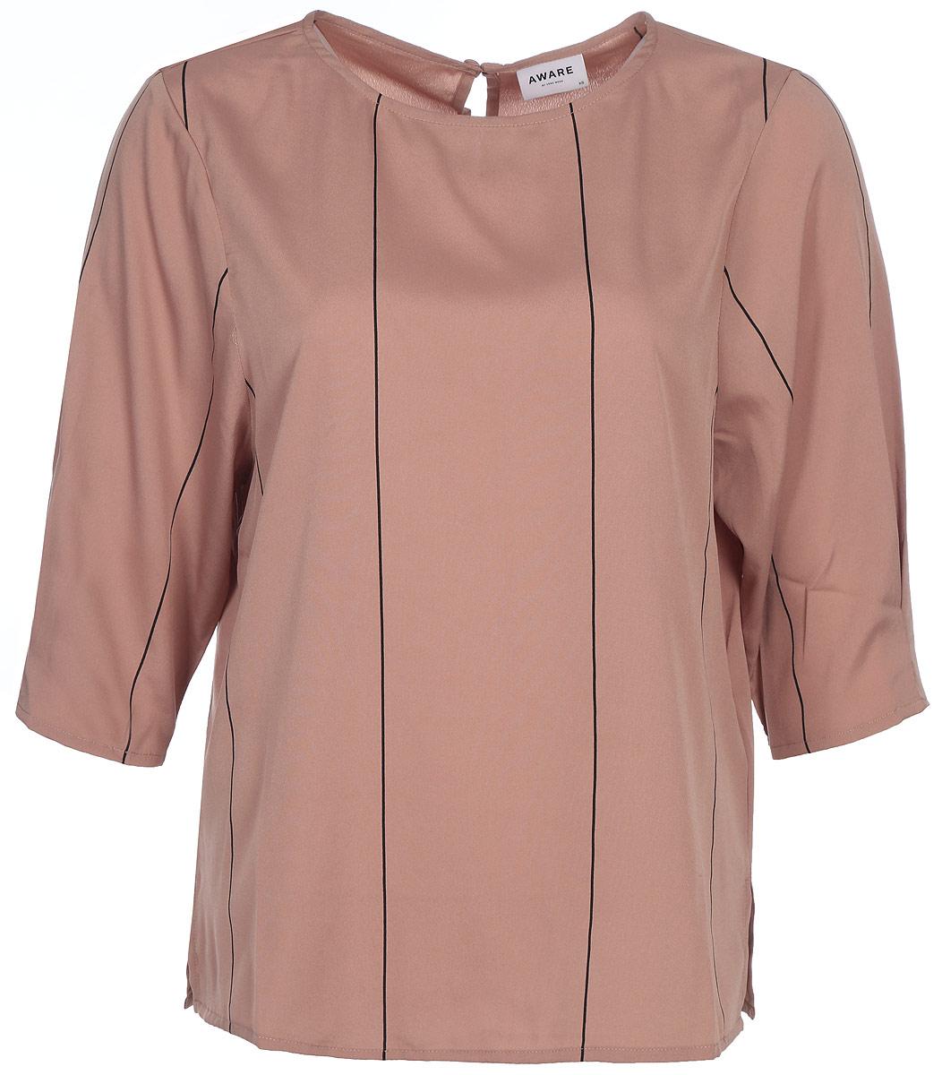 Блузка женская Vero Moda, цвет: коричневый. 10187952_Mocha Mousse. Размер 46/4810187952_Mocha MousseСтильная блузка свободного силуэта, выполненная из 100% полиэстера, отлично дополнит ваш гардероб. Модель с рукавами до локтя и круглым вырезом горловины на спинке имеет застежку на пуговицу.