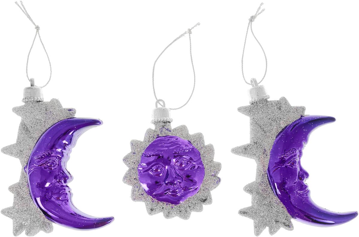 Набор новогодних украшений Mister Christmas Месяц, цвет: серебристый, фиолетовый, 3 шт елочные украшения mister christmas елочная игрушка 8 шт