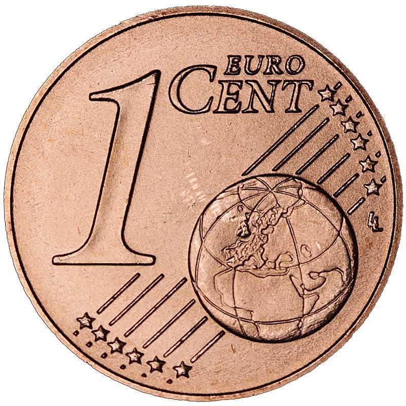 Монета номиналом 1 евроцент.  Сталь с медным покрытием.  Эстония, 2017 год Сталь с медным покрытием.. Монета номиналом 1 евроцент. Диаметр -...