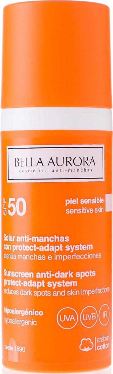 Bella Aurora Флюид для лица солнцезащитный SPF50 для чувствительной кожи, 50 млBA4053100Антипигментный солнцезащитный флюид Sun Fluid SPF50 для чувствительной кожи — это система защиты кожи, адаптирующаяся в связи с переменами сезонов и температур. Широкий спектр солнцезащитных фильтров UVA, UVB and IR (в виде двойных микросфер) обеспечивает максимальную защиту от солнца. Ультра-легкая текстура, флюид быстро впитывается, оставляя невидимое покрытие. Уменьшает уже существующие пятна на коже и предотвращает образование новых благодаря мощным депигментирующим компонентам в составе формулы. Смягчает кожу во время пребывания на солнце, одновременно с этим уменьшает воспаление. Максимальная защита клеток кожи от свободных радикалов, предотвращает фотостарение. Содержит SPF50.