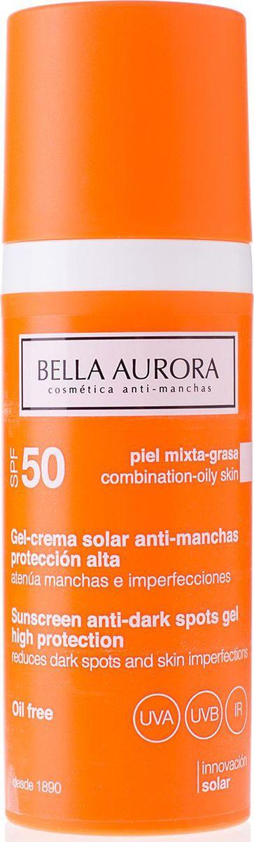 Bella Aurora Гель для лица солнцезащитный SPF50, 50 млBA4096152Солнцезащитный гель-крем от пигментных пятен Bella Aurora для комбинированной-жирной кожи обеспечивает максимальную защиту от солнечных лучей. Усиленная формула геля содержит широкий спектр фильтров UVA, UVB и IR, компоненты которых заключены в двойные сферы. Имеет ультра-легкую и жидкую текстуру, быстро впитывается, оставляя нежирное, матовое и прозрачное покрытие. Без масел. Формула содержит мощные депигментирующие компоненты, которые действуют как на уже имеющиеся пигментные пятна, уменьшая их, так и предотвращает образование новых пятен. Смягчает кожу во время нахождения под солнцем, снимает воспаление. Максимальная защита клеток от свободных радикалов, предотвращает фотостарение. Содержит SPF50+.