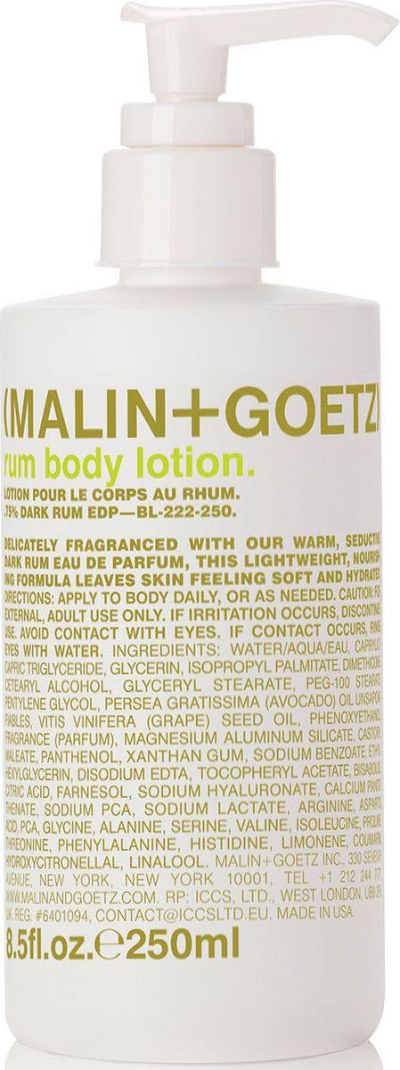 Malin+Goetz Лосьон для тела Ром, 250 млMGBL222250Лосьон легкой текстуры глубоко и надолго увлажняет, питает кожу. Делает кожу мягкой и увлажненной, быстро впитывается и имеет приятный теплый аромат парфюмерной воды Темный ром.