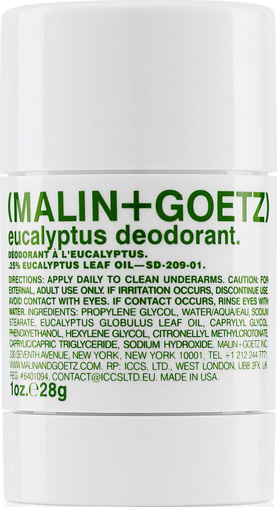 Malin+Goetz Дезодорант Эвкалипт, 28 гMGSD20901Освежающий и эффективный дезодорант не содержит спирта и алюминия и прекрасно подходит для мужчин и женщин. Дезодорант содержит натуральный экстракт эвкалипта и нейтрализатор запаха цитронеллил, которые действуют 24 часа, не забивает поры кожи и подходит для всех типов кожи, особенно для чувствительной. Специальная формула не оставляет следов на коже и одежде, быстро впитывается и не вызывает раздражение кожи.