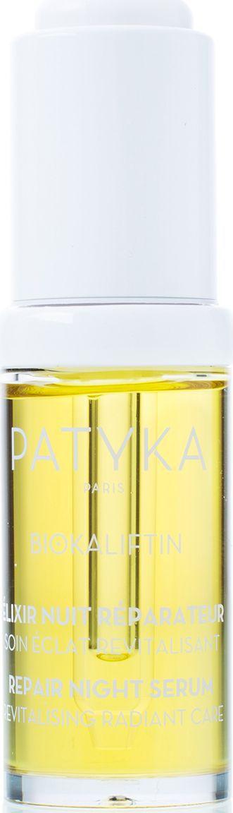 Patyka Восстанавливающий ночной эликсир для лица, 15 млPTK0024Бестселлер Patyka – результат с первого применения! 100% натуральности, глобальный anti-age уход, работа с глубокими морщинами. Сыворотка приятной масляной текстуры перезапускает процессы регенерации кожи, даря ей сияние, пробуждение, экспресс-уход против стресса.