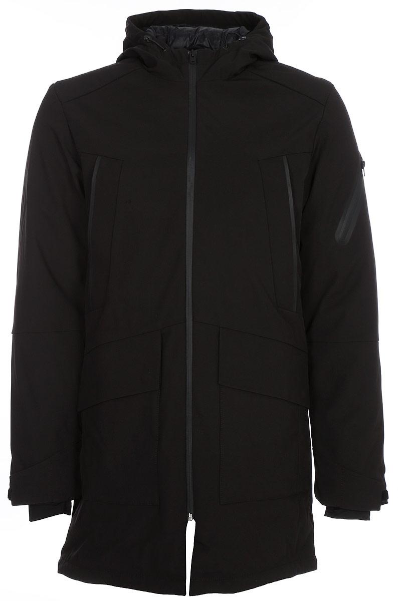Пальто мужское Jack & Jones, цвет: черный. 12124269_Black. Размер XXL (54)