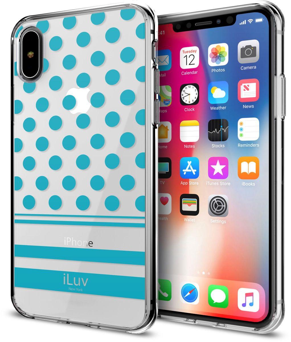 iLuv DotStyle чехол для iPhone X, BlueAIXDOTBLiLuv DotStyle - легкий и прочный клип-кейс, предназначенный для Apple iPhone X. Он обеспечивает смартфону надежную защиту от повреждений при ударах, толчках и падениях с небольшой высоты. Задняя панель выполнена из полупрозрачного поликарбоната, поэтому владелец и окружающие его люди могут по достоинству оценить элегантный дизайн мобильного устройства и рассмотреть на нем фирменный логотип Apple. Благодаря продуманной конструкции аксессуара можно пользоваться всеми разъемами и элементами управления смартфона, а также вести фото- и видеосъемку с помощью основной камеры.