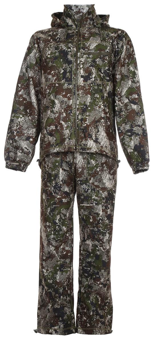 Костюм рыболовный мужской HUNTSMAN Никс Люкс: куртка, полукомбинезон, цвет: хамелеон. n_100_lux-032. Размер 44/46, рост 170n_100_lux-032Непромокаемый и непродуваемый костюм Никс Люкс от Huntsman состоит из демисезонной куртки и полукомбинезона. Изделия выполнены из материалаWindbloсk (Алова + мембрана + Polar Fleece) с использованием плоскошовной технологии пошива.Куртка со съемным капюшоном застегивается на молнию и дополнена 4 карманами на молниях. Манжеты рукавов дополнены резинками. По низу предусмотрена утяжка со стопперами. Полукомбинезон свободного покроя на эластичном поясе и с регулируемыми бретелями спереди застегивается на молнию. Изделие имеет 4 кармана и утяжки по нижнему краю брючин.