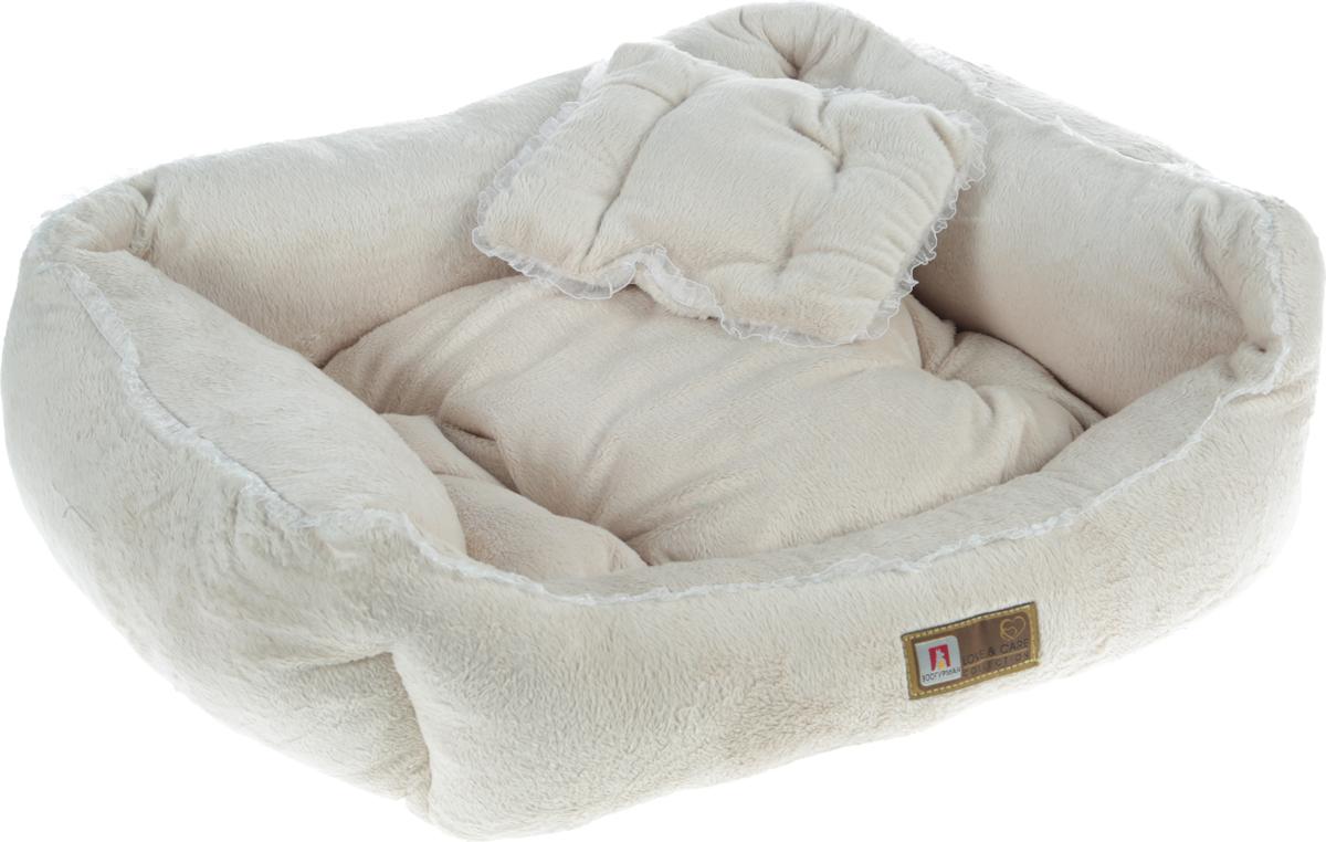 Лежак для собак и кошек Зоогурман  Версаль , цвет: бежевый, 55 х 50 х 12 см