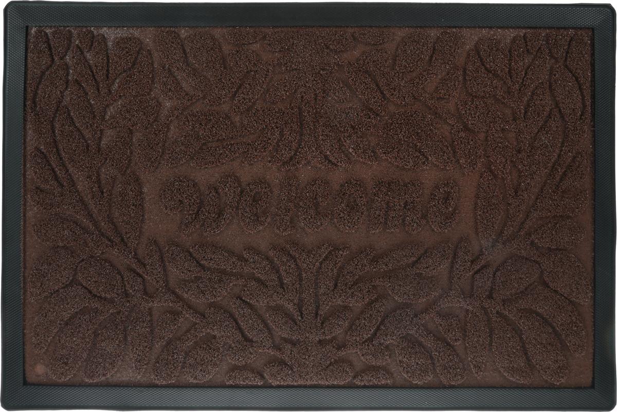 Коврик придверный Vortex Grass, рельефный, цвет: коричневый, 50 х 80 см. 22523 коврик придверный vortex ботинки цвет черный 45 х 75 см