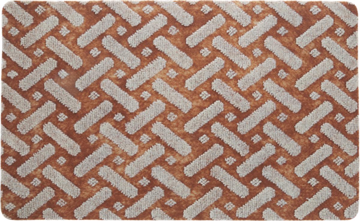 Коврик придверный Vortex Siesta, цвет: светло-коричневый, серый, 50 х 80 см коврик придверный vortex листья 76 46 см
