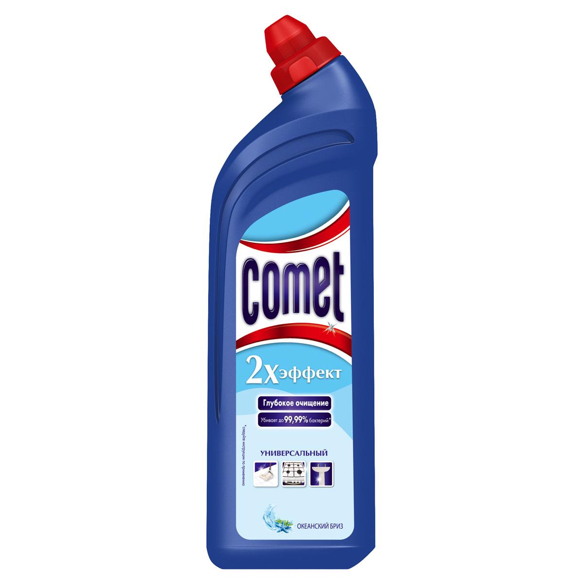 """Универсальный чистящий гель Comet """"Двойной эффект"""" предназначен для глубокого очищения   поверхностей. Эффективно удаляет повседневные загрязнения и обычный жир во всем доме, а   также дезинфицирует поверхности. Средство подходит для плит (в том числе   стеклокерамических), ванн, раковин, унитазов, кафеля, мытья полов. Обладает приятным   ароматом.   Характеристики:  Состав: Объем: 1 л.     Товар сертифицирован.    Уважаемые клиенты!  Обращаем ваше внимание на возможные изменения в дизайне упаковки. Качественные характеристики товара остаются неизменными. Поставка осуществляется в зависимости от наличия на складе.      Как выбрать качественную бытовую химию, безопасную для природы и людей. Статья OZON Гид"""