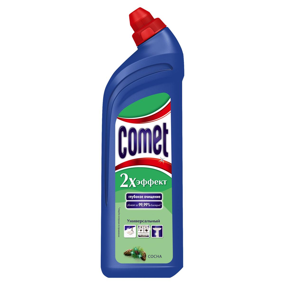 """Универсальный чистящий гель Comet """"Двойной эффект"""" предназначен для глубокого очищения поверхностей.   Эффективно удаляет повседневные загрязнения и обычный жир во всем доме, а также дезинфицирует   поверхности. Средство подходит для плит (в том числе стеклокерамических), ванн, раковин, унитазов, кафеля,   мытья полов. Обладает приятным ароматом сосны.    Характеристики:  Состав: Объем: 1 л.   Товар сертифицирован.    Уважаемые клиенты!  Обращаем ваше внимание на возможные изменения в дизайне упаковки. Качественные характеристики товара   остаются неизменными. Поставка осуществляется в зависимости от наличия на складе.      Как выбрать качественную бытовую химию, безопасную для природы и людей. Статья OZON Гид"""
