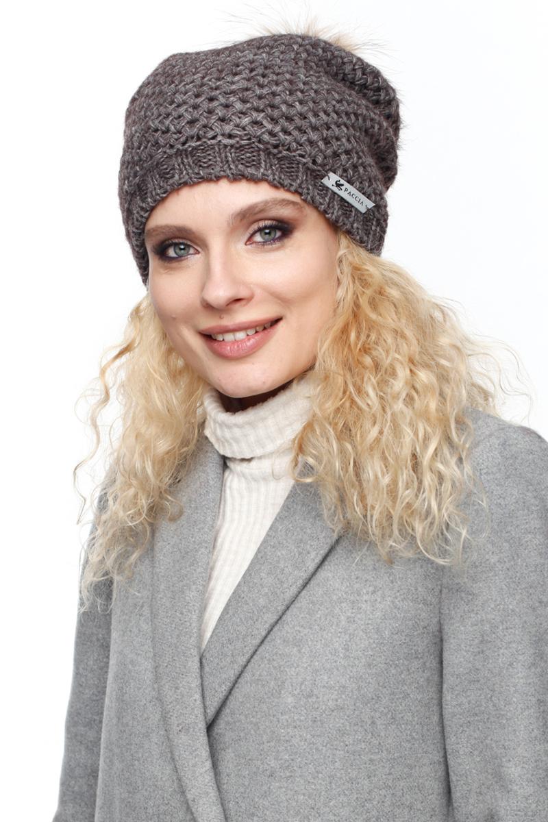 Шапка женская Paccia, цвет: коричневый. NR-21713-4. Размер 55/58NR-21713-4Вязаная женская шапка-колпак Paccia выполнена из акрила с добавлением шерсти. Модель дополнена меховым помпоном. Эта шапка не только согреет в прохладную погоду, но и стильно дополнит ваш образ.