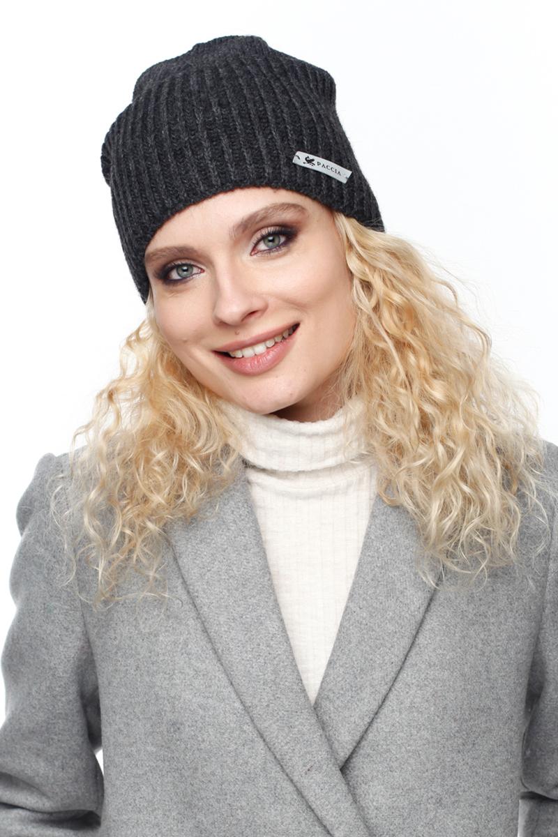 Шапка женская Paccia, цвет: темно-серый. NR-21716-2. Размер 55/58NR-21716-2Вязаная женская шапка Paccia выполнена из акрила с добавлением шерсти. Эта шапка не только согреет в прохладную погоду, но и стильно дополнит ваш образ.