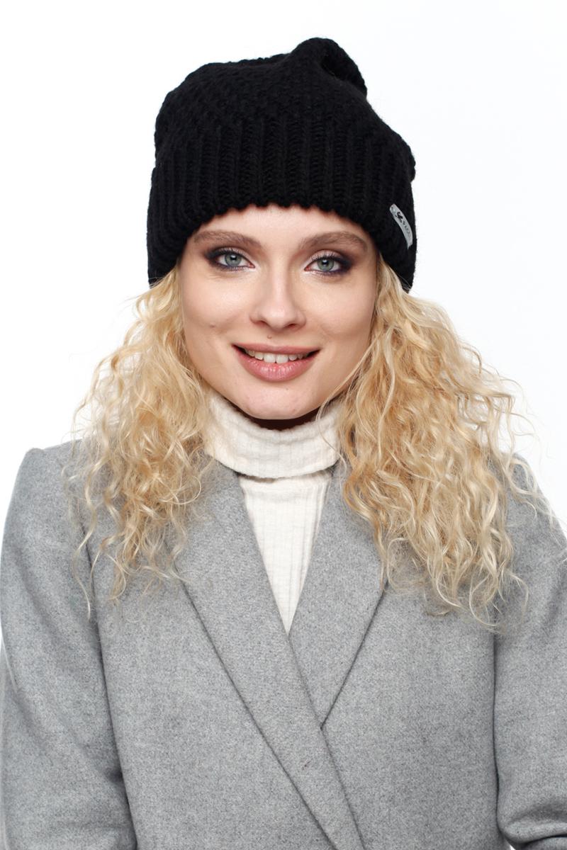 Шапка женская Paccia, цвет: черный. NR-21706-3. Размер 55/58NR-21706-3Вязаная женская шапка Paccia выполнена из акрила с добавлением шерсти. Эта шапка не только согреет в холодную погоду, но и стильно дополнит ваш образ.