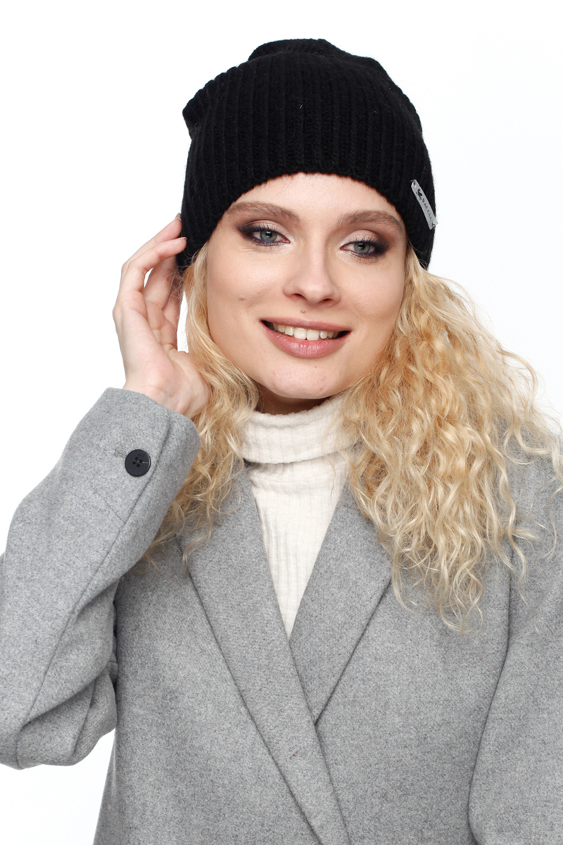 Шапка женская Paccia, цвет: черный. NR-21716-3. Размер 55/58NR-21716-3Вязаная женская шапка Paccia выполнена из акрила с добавлением шерсти. Эта шапка не только согреет в прохладную погоду, но и стильно дополнит ваш образ.