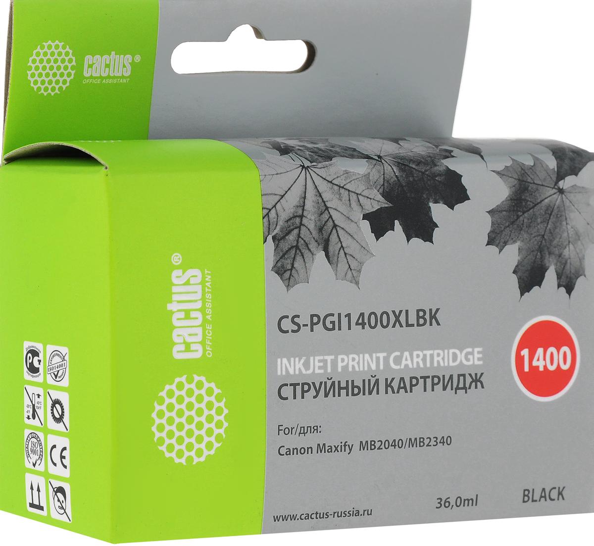 Cactus CS-PGI1400XLBK, Black картридж струйный для Canon MB2050/MB2350/MB2040/MB2340CS-PGI1400XLBKКартридж Cactus CS-PGI1400XLBK для струйных принтеров Canon MB2050/MB2350/MB2040/MB2340.Расходные материалы Cactus для печати максимизируют характеристики принтера. Обеспечивают повышенную четкость изображения и плавность переходов оттенков и полутонов, позволяют отображать мельчайшие детали изображения. Обеспечивают надежное качество печати.Уважаемые клиенты! Обращаем ваше внимание на то, что упаковка может иметь несколько видов дизайна. Поставка осуществляется в зависимости от наличия на складе.