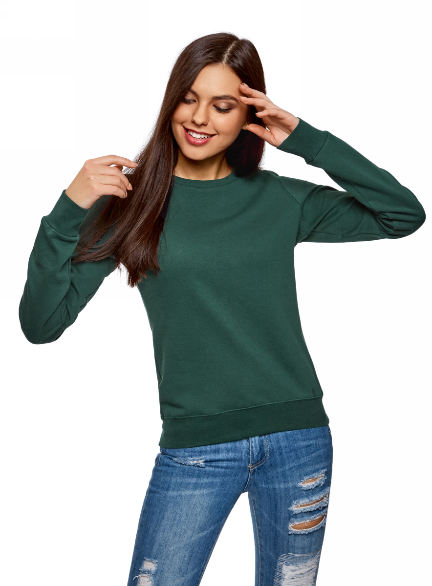 Свитшот женский oodji Ultra, цвет: темно-зеленый. 14801045-8B/48015/6900N. Размер XL (50)