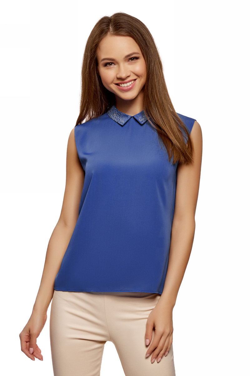 Топ женский oodji Ultra, цвет: синий. 14911006-1/43414/7500N. Размер 34 (40-170)14911006-1/43414/7500N