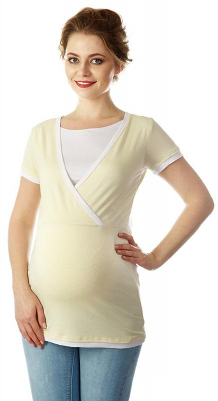 Блузка для беременных и кормящих Mums Era Гармония, цвет: светло-бежевый. 35591. Размер M (46/48)35591Стильная женская футболка Mums Era Гармония, изготовленная из вискозы с добавлением лайкры, идеально подойдет как для беременных, так и для кормящих мам. Футболка с короткими рукавами и круглым вырезом горловины понизу дополнена спереди специальной вставкой-топом, которая поможет незаметно покормить малыша в общественном месте, при этом от окружающих процесс кормления будет скрыт.Отделка верхней части, рукавов и низа изделия придает эффект 2 в 1.