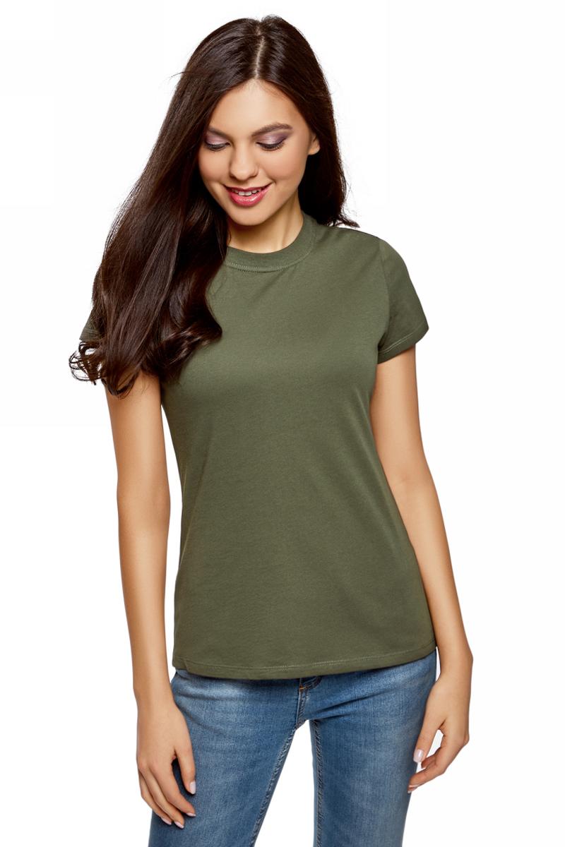 Футболка женская oodji Ultra, цвет: зеленый. 14701078B/48005/6800N. Размер M (46)14701078B/48005/6800NОднотонная женская футболка, выполненная из натурального хлопка, незаменимая вещь любого гардероба. Модель с короткими рукавами и круглым вырезом горловины. Горловина дополнена трикотажной резинкой, что предотвращает деформацию при носке.