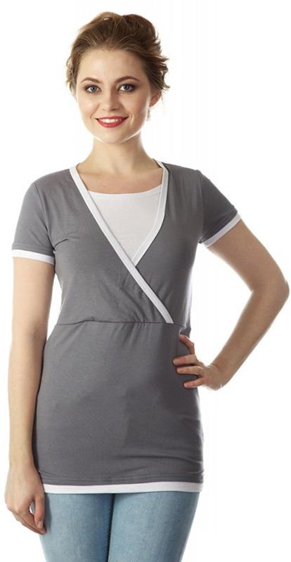 Блузка для беременных и кормящих Mum's Era Гармония, цвет: серый. 35592. Размер M (46/48) футболка milkymama футболка для кормящих мам