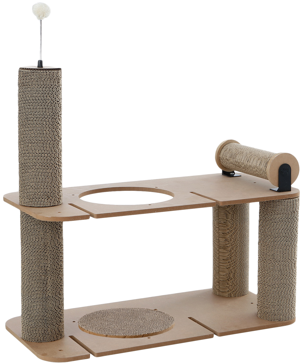 Когтеточка Petsweet, 80 x 40 x 73 см. PCT-2537PCT-2537Стильная когтеточка Petsweet поможет сохранить мебель и ковры в доме от когтей вашего любимца, стремящегося удовлетворить свою естественную потребность точить когти. Когтеточка изготовлена из качественного картона и МДФ. Товар продуман в мельчайших деталях и, несомненно, понравится вашей кошке. Когтеточка представляет собой двухэтажное строение с одной горизонтальной, вертикальными когтеточками и отверстием. Верхняя когтеточка дополнена игрушкой из искусственного меха на пружинке.Всем кошкам необходимо стачивать когти. Когтеточка - один из самых необходимых аксессуаров для кошки. Для приучения к когтеточке можно натереть ее сухой валерьянкой или кошачьей мятой.