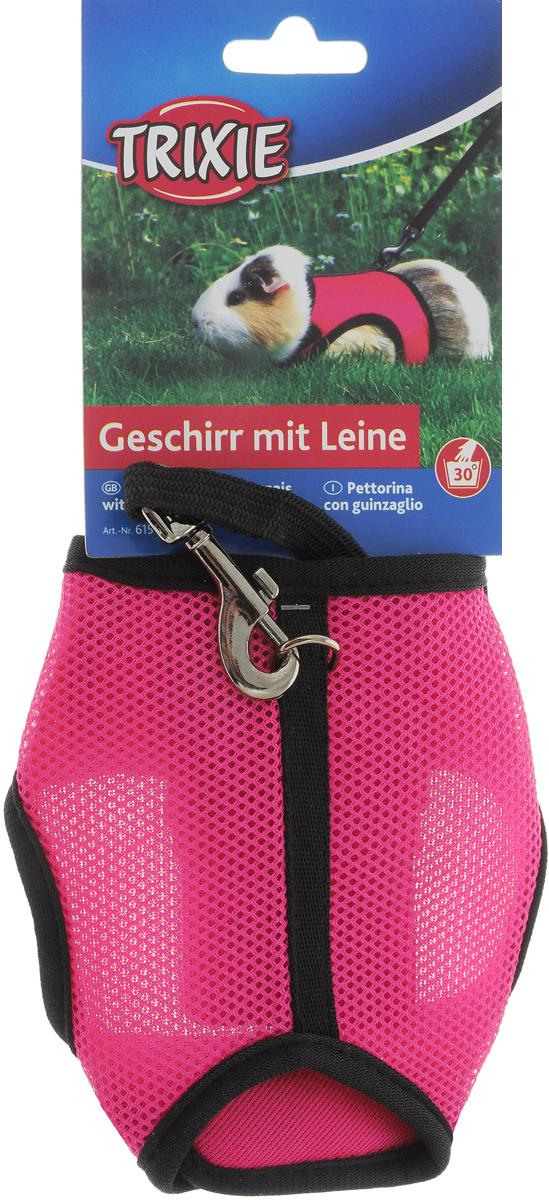 Шлейка-жилетка Trixie для морской свинки / кролика / хорька, с поводком, цвет: розовый trixie шлейка trixie для собак размер s m 35 60 см 15 мм синяя