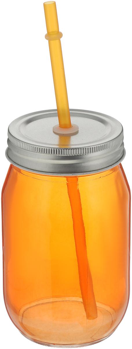 Емкость для напитков Zeller, с трубочкой, цвет: оранжевый, 450 мл19737_оранжевыйЕмкость для напитков Zeller выполнена из высококачественного стекла. Изделие снабжено металлической крышкой с отверстием для трубочки. Эта емкость станет идеальным вариантом для подачи лимонадов, ароматных свежевыжатых соков и вкусных смузи. Диаметр (по верхнему краю): 6,5 см.Высота емкости (без учета трубочки): 13 см.