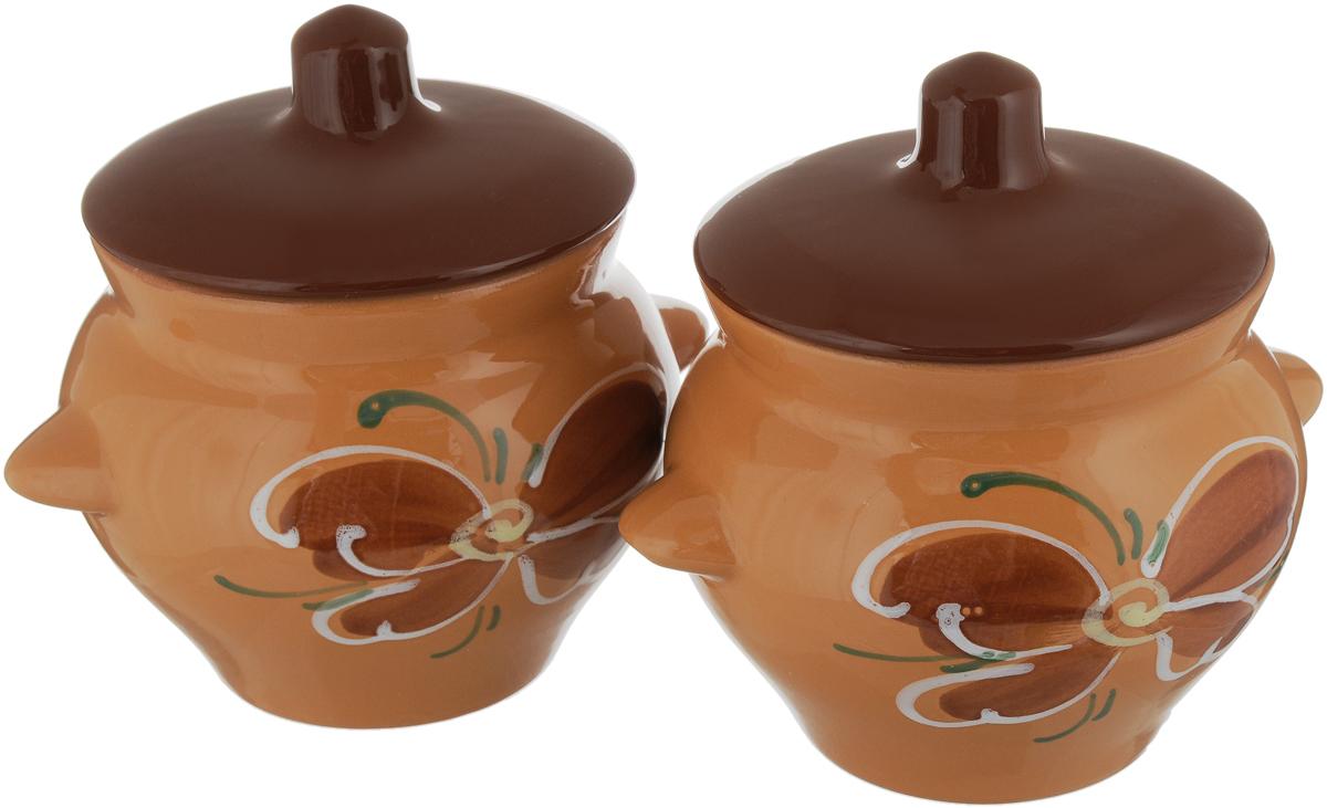 Набор горшочков для запекания Борисовская керамика Стандарт, с крышками, цвет: светло-коричневый, темно-коричневый, 500 мл, 2 шт набор горшочков для запекания борисовская керамика стандарт с крышками цвет коричневый зеленый белый 500 мл 4 шт