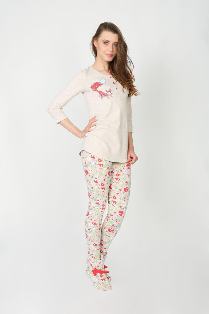 Комплект домашний женский Melado Вивьен, цвет: бежевый. ML2247/01. Размер 48 платье домашнее melado вивьен цвет бежевый ml2170 01 размер 48