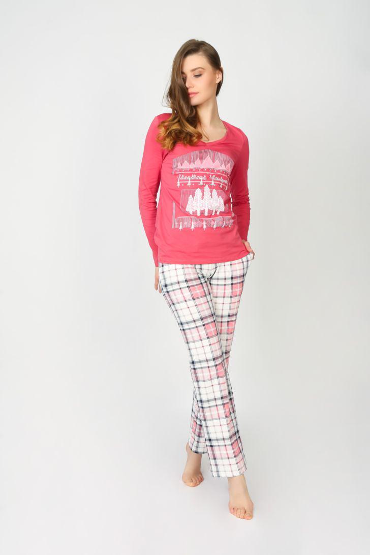 Комплект домашний женский Melado Шале, цвет: розовый. ML2822/01. Размер 52 bonpoint лонгслив розовый с принтом вишнями