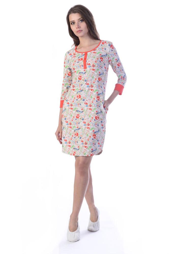 Платье домашнее Melado Вивьен, цвет: бежевый. ML2170/01. Размер 50ML2170/01Женское домашнее платье Melado выполнено из высококачественного хлопка с добавлением полиэстера и эластана. Стильное и комфортное платье оформлено оригинальным рисунком. Рукава и ворот отделаны яркими вставками.
