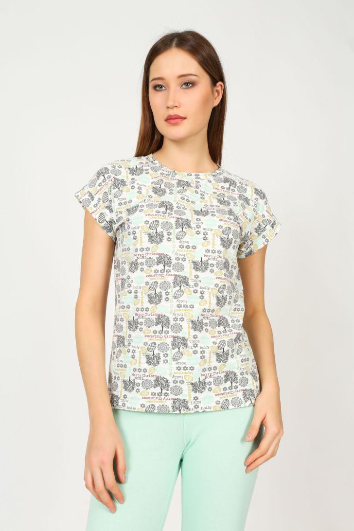 Футболка для дома женская Melado Герда, цвет: серый. ML2834/01. Размер 46ML2834/01Комфортная футболка с праздничным рисунком. Футболка свободного кроя со спущенным плечом.
