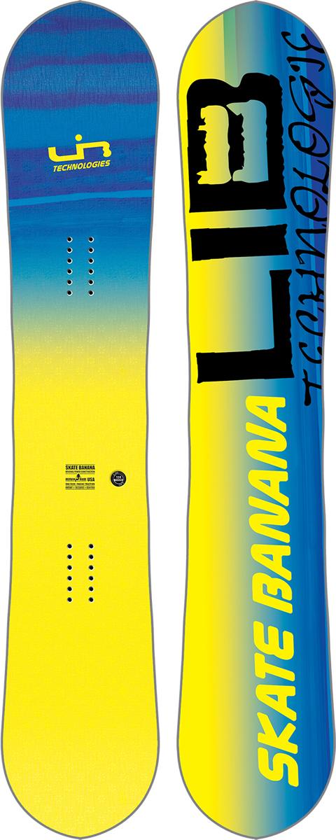 Сноуборд мужской LibTech SK8 Banana BTX, цвет: желтый, синий. Ростовка 159 см17SN029Созданный для побед сноуборд Skate Banana, на котором легко кататься и получить максимальную производительность. Графика от Mike Parillo.Технические характеристики:- Форма: True Twin.- Прогиб: Original Banana - рокер в центре и средний кэмбер по краям.- Технология MAGNE-TRACTION - сноуборд отлично ведет себя на жестком снегу и на льду.- Сердечник из разных сортов дерева Aspen/Columbian Gold.- Комбинированное стекловолокно TRI-AX/BI-AX.- Верхний слой Eco Sub POLY TOP.- Скоростной скользяк TNT.Боковины, нос и хвост выполнены из высокомолекулярного материала UHMW.Внутренние боковины из березы (Birch Internal Sidewalls).Материал: пластик. - Прогиб: mixed (смешанный). - Жесткость: 6.
