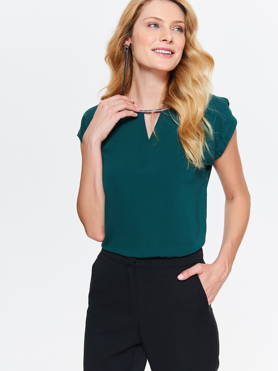 юбка top secret цвет зеленый ssd1153zi размер 42 50 Блузка женская Top Secret, цвет: темно-зеленый. SBK2276CZ. Размер 42 (50)