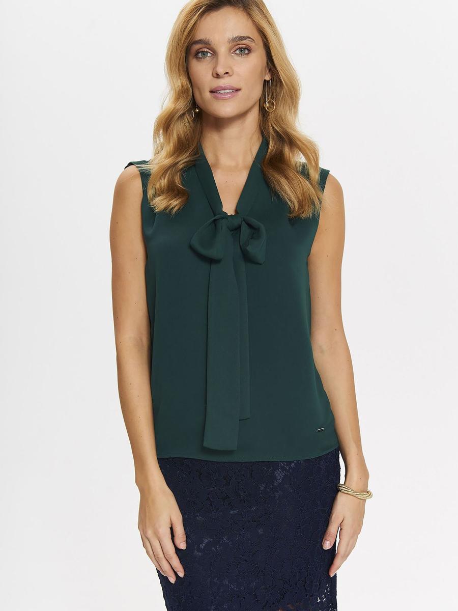 Блузка женская Top Secret, цвет: темно-зеленый. SBW0379CZ. Размер 38 (46)SBW0379CZСтильная женская блузка от Top Secret выполнена из полиэстера. Модель без рукавов и с воротником-аскот.